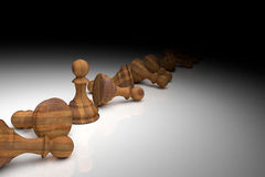 3D Rendering : illustration of chess pieces. 3D Rendering : illustration of chess pieces.the wooden pawn chess at the center with many falling pawn chess.light Stock Photos