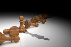 3D Rendering : illustration of chess pieces. 3D Rendering : illustration of chess pieces.the wooden pawn chess and shadow of king at the center with many Royalty Free Stock Image