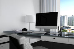 3D Rendering : illustration close up of Creative designer office desktop with blank computer,keyboard,camera,lamp and other items. On background with window and Royalty Free Stock Photo