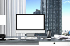 3D Rendering : illustration close up of Creative designer office desktop with blank computer,keyboard. Camera,lamp and other items on background with window and Royalty Free Stock Photos