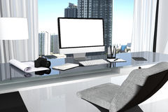 3D Rendering : illustration close up of Creative designer office desktop with blank computer,keyboard,camera. Lamp and other items on background with window and Stock Image