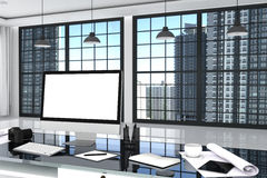 3D Rendering : illustration close up of Creative designer office desktop with blank computer,keyboard,camera,lamp and other items. On background with window and Stock Images