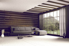 3d rendering : illustration of comfortable contemporary interior with view of green mountain and green field.white room interior. In wooden style.with glass Stock Image