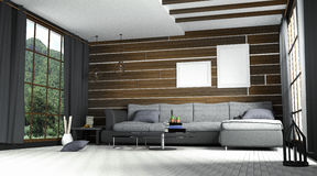3d rendering : illustration of comfortable contemporary interior with view of green mountain and green field.white room interior. In wooden style.with glass Stock Photos