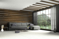 3d rendering : illustration of comfortable contemporary interior with view of green mountain and green field.white room interior i. N wooden style.with glass Royalty Free Stock Photography