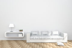 3D Rendering : illustration of cozy living-room interior with white book shelf and white sofa furniture against matt white wall Stock Photos