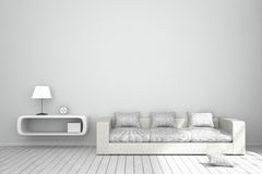 3D Rendering : illustration of cozy living-room interior with white book shelf and white sofa furniture against matt white wall Royalty Free Stock Photography