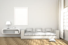 3D Rendering : illustration of cozy living-room interior with white book shelf and white sofa furniture against matt white wall Royalty Free Stock Photo