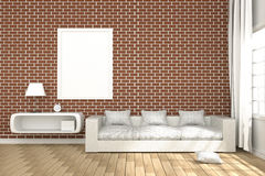 3D Rendering : illustration of cozy living-room interior with white book shelf and white sofa furniture against red brick wall Stock Photo