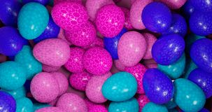 3d rendering. Illustration of easter eggs of blue, blue and pink color. Festive background royalty free stock photography