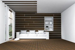 3D rendering : illustration of easy living room.natural sun light from glass windows.Empty Room Interior in wooden wall. Modern interior design.wooden floor and Stock Photography