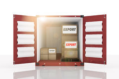 3D rendering : illustration of front side open blue container with cardboard boxes inside the container.business export text. White isolate background.flare Royalty Free Stock Photography