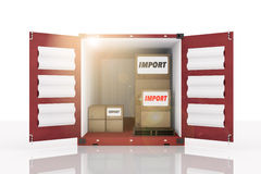 3D rendering : illustration of front side open blue container with cardboard boxes inside the container.business import text. White isolate background.flare Stock Image