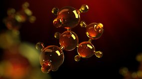 3d rendering illustration of glass molecule model. Molecule of oil. Concept of structure model motor oil or gas.  royalty free illustration