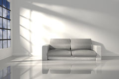 3D Rendering : illustration of interior room of minimalism white feeling with modern leather sofa furniture at the middle of room Royalty Free Stock Photography