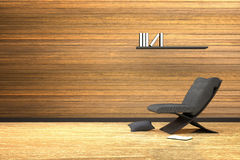 3D rendering : illustration of interior wooden room with modern chair furniture and the pillow on the wooden floor. Books on a shelf Royalty Free Stock Photo