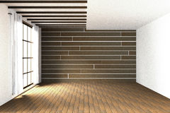 3D rendering : illustration of large spacious room.natural sun light from glass windows.Empty Room Interior in wooden wall. Modern interior design.wooden floor Stock Photos