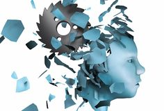 3d rendering illustration mental stress disorder as human head falling apart isolated on white royalty free stock image