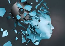 3d rendering illustration of mental stress disorder human head falling apart royalty free stock images