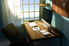 3D Rendering : illustration of modern creative workplace.PC monitor on wooden table.translucent curtain and glass window Stock Images