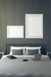 3D rendering : illustration of modern house interior.bed room part of house.Spacious bedroom in black and white style. Modern furniture,big bed and decorative Royalty Free Stock Photography