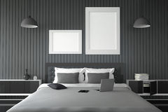 3D rendering : illustration of modern house interior.bed room part of house.Spacious bedroom in black and white style. Modern furniture,big bed and decorative Royalty Free Stock Photos