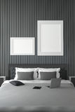 3D rendering : illustration of modern house interior.bed room part of house.Spacious bedroom in black and white style. Modern furniture,big bed and decorative Stock Images