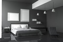 3D rendering : illustration of modern house interior.bed room part of house.Spacious bedroom in black and white style. 3D rendering : illustration of modern Stock Photo