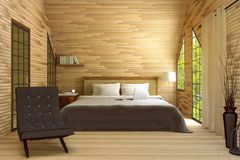 3D rendering : illustration of modern house interior.bed room part of house.Spacious bedroom in wooden style. Modern furniture,big bed and decorative,green Stock Photography