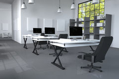 3D Rendering : illustration of modern interior Creative designer office desktop with PC computer.computer labs.working place Stock Photography