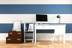 3D Rendering : illustration of modern interior Creative designer office desktop with PC computer Stock Images