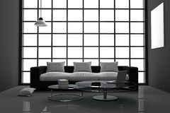 3D Rendering : illustration of modern interior minimalism black and white living room with laptop computer,and book on glass table. Big glass window.white frame Stock Image