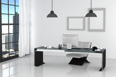3D Rendering : illustration of modern interior white office of Creative designer desktop with PC computer,keyboard,camera,lamp Stock Photo