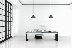 3D Rendering : illustration of modern interior white office of Creative designer desktop with PC computer,keyboard,camera,lamp. Hanging and other items on Royalty Free Stock Photography
