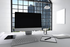 3D Rendering : illustration of modern interior white office of Creative designer desktop with PC computer,keyboard,camera,lamp. Hanging and other items with Stock Photo