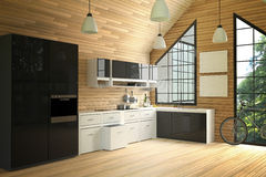 3D Rendering : illustration of modern loft interior kitchen room.kitchen part of house.black and white shelf.Mock up.wooden tile Stock Photography