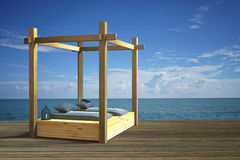 3D rendering : illustration of modern wooden beach lounge decoration at balcony outdoor wooden room style with Sundeck on Sea view Royalty Free Stock Photography