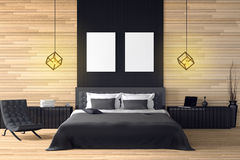 3D rendering : illustration of modern wooden house interior.bed room part of house.Spacious bedroom in wood style. Black and white furniture,big bed and Stock Photography