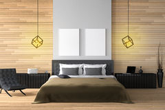 3D rendering : illustration of modern wooden house interior.bed room part of house.Spacious bedroom in wood style. Black and white furniture,big bed and Royalty Free Stock Image