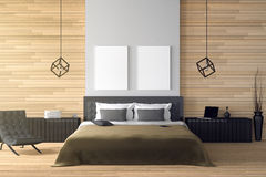 3D rendering : illustration of modern wooden house interior.bed room part of house.Spacious bedroom in wood style. Black and white furniture,big bed and Royalty Free Stock Images