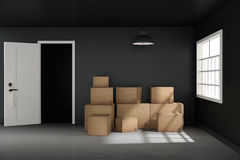 3D rendering : illustration of moving boxes at a new office.new home.Interior moving house with cardboard boxes.light from outside Royalty Free Stock Photos