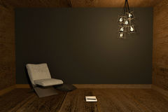 3D rendering : Illustration of night scene Modern interior with chair and note book put on wooden floor against black wall Royalty Free Stock Photos