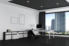 3D Rendering : illustration of office of Creative designer desktop. With blank computer,keyboard,camera,lamp and other items on background with window and city Royalty Free Stock Photos