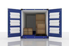 3D rendering : illustration of open blue container with cardboard boxes inside the container.business export import concept Stock Image