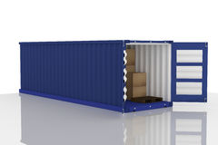 3D rendering : illustration of open blue container with cardboard boxes inside the container.business export import concept. White isolate background.clipping Stock Images