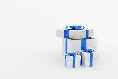 3d Rendering : illustration of realistic three size of white square gift box with blue ribbon bow in empty room.isolate on white. Background.copy space for add Royalty Free Stock Photography