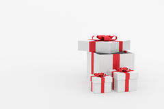 3d Rendering : illustration of realistic three size of white square gift box with red ribbon bow in empty room.isolate on white. Background.copy space for add Stock Photo