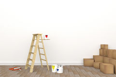 3D rendering : illustration of repair ladder for painter of wall painting.decoration your home concept.re-new your home concept. Design your interior color of Royalty Free Stock Images