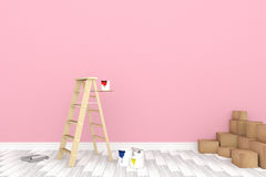 3D rendering : illustration of repair ladder for painter of wall painting.decoration your home concept.re-new your home concept. Design your interior color of Royalty Free Stock Photography