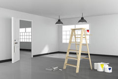 3D rendering : illustration of repair ladder for painter of wall painting.decoration your home concept.re-new your home concept. Design your interior color of Stock Photography